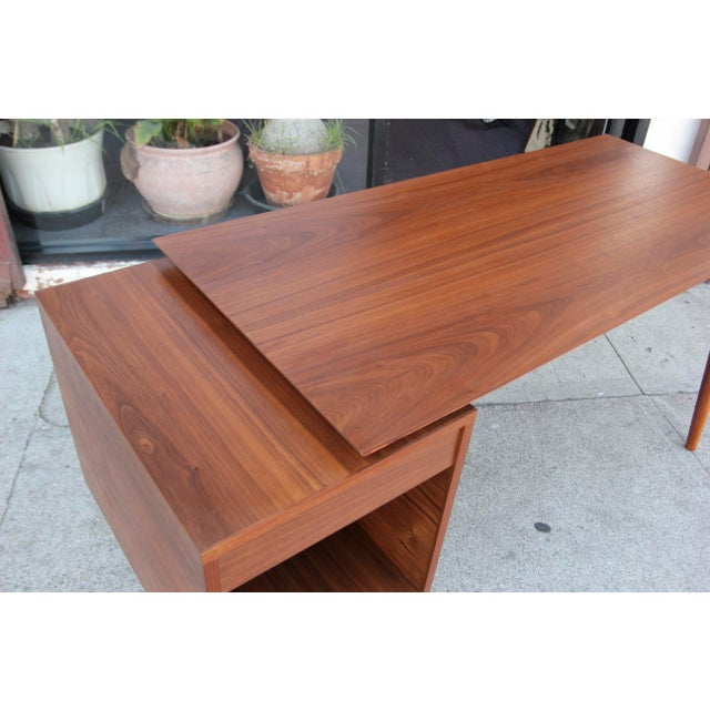Mid-Century Style Walnut Desk For Sale - Image 9 of 13