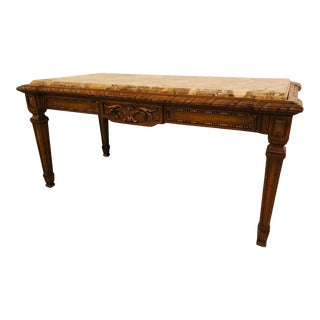 Louis XVI Style French Coffee Table, Marble Top For Sale