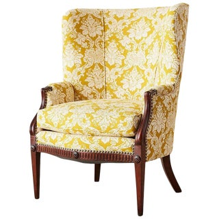 Edwardian Mahogany Wingback With Fortuny Style Fabric For Sale