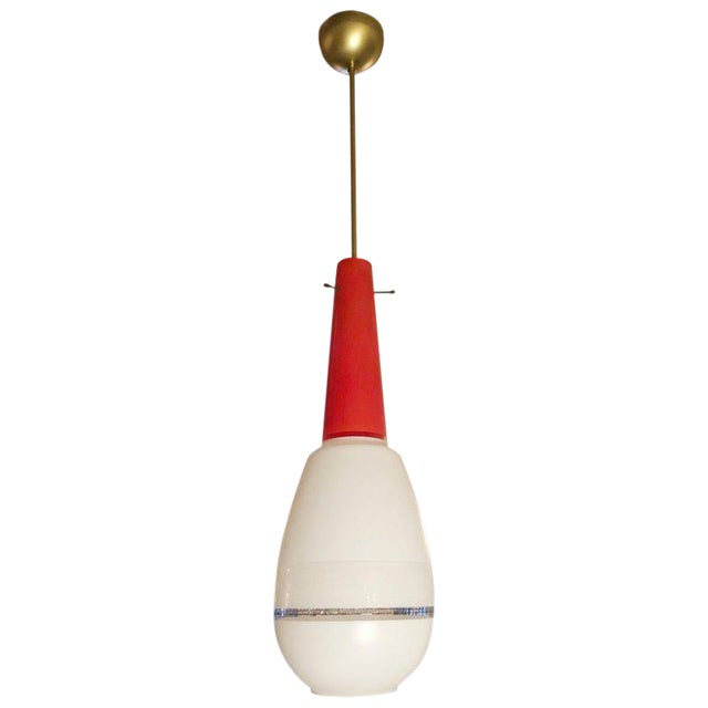 Red and White Pendant by Stilnovo For Sale