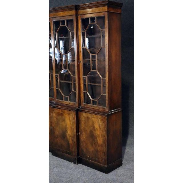 Brown Baker Georgian Style Flame Mahogany Breakfront For Sale - Image 8 of 10