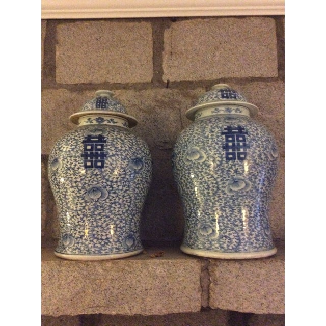 Chinese Blue and White Ginger Jars - a Pair For Sale - Image 10 of 10