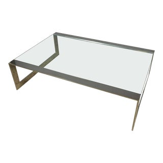 1970s Mid-Century Modern Polished Steel and Glass Coffee Table For Sale