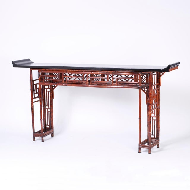 Bamboo Console Table For Sale - Image 9 of 10
