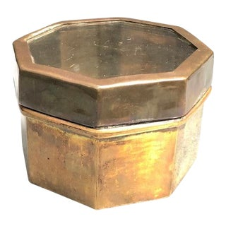 1960s Brass Glass-Top Octagon Box For Sale