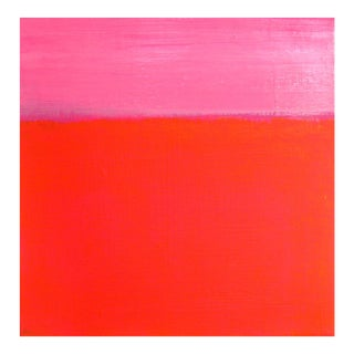 2010s Abstract Pink and Coral Ombre Painting on Canvas