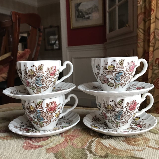 4 Vintage English Ironstone Cups & Saucers - 8 Pieces For Sale - Image 9 of 9