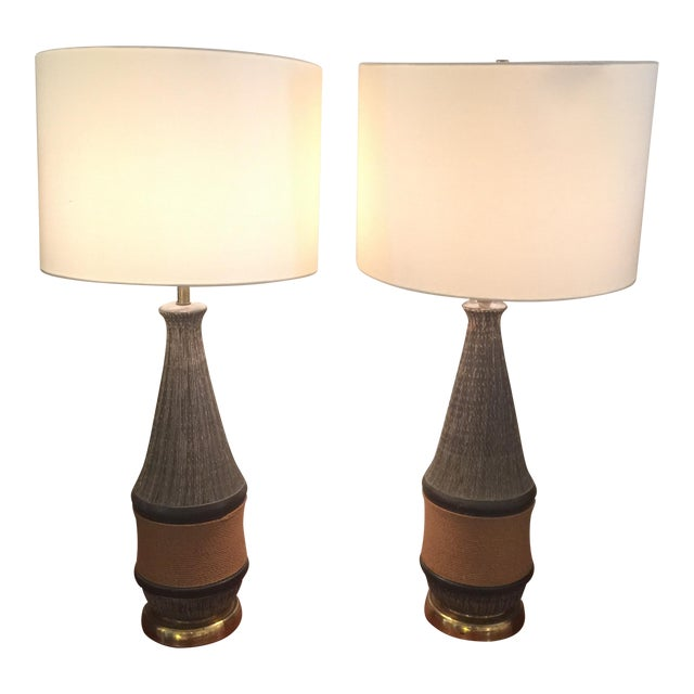 Bitossi Italy Ceramic Rope Lamp, 1960s - A Pair For Sale