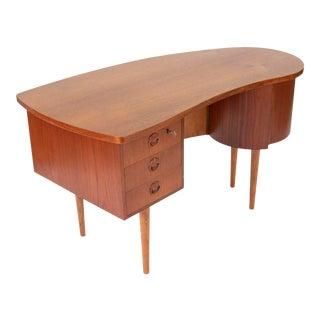 1950s Danish Kidney Shaped Teak Desk With Dry Bar For Sale