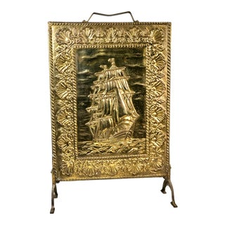 Vintage Clipper Brass Fireplace Nautical Decoration Mariner Ship Standing Screen For Sale