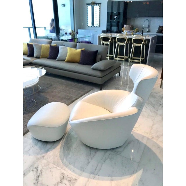 Edito Swivel Lounge Chair in White Leather by Roche Bobois For Sale - Image 11 of 13