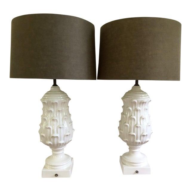 1960s Regency Ceramic Artichoke Lamps - a Pair For Sale