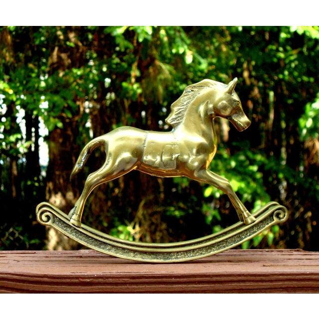 Hollywood Regency Mid-Century Brass Rocking Horse - Image 6 of 11