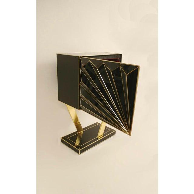 Art Deco Double Sunburst Glass Cabinets For Sale - Image 3 of 5