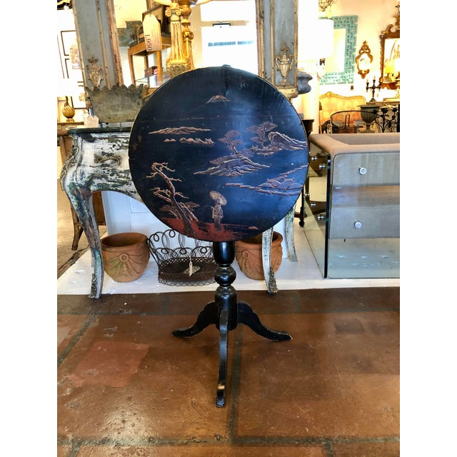 Black Lacquer and Painted Chinoiserie Tilt Top Table For Sale - Image 13 of 13