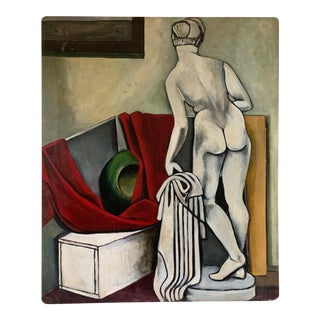 1940s Vintage Nude Woman Still Life Oil Painting For Sale