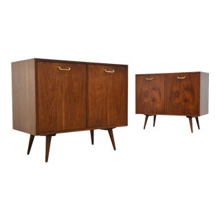 One American of Martinsville Walnut Cabinet Credenza For Sale