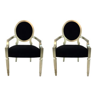 Caracole Modern Chit Chat Black Velvet Arm Chairs Pair For Sale