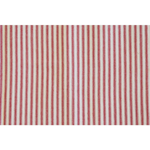 "Early 21st Century French Country Red & Ivory Ticking Table Runner 109"" Long For Sale - Image 5 of 7"