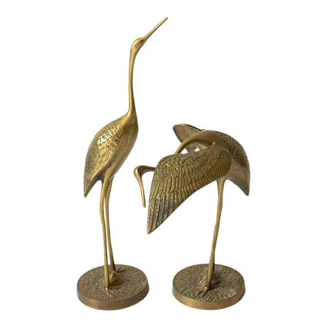 Mid Century Brass Crane Figurines - a Pair For Sale