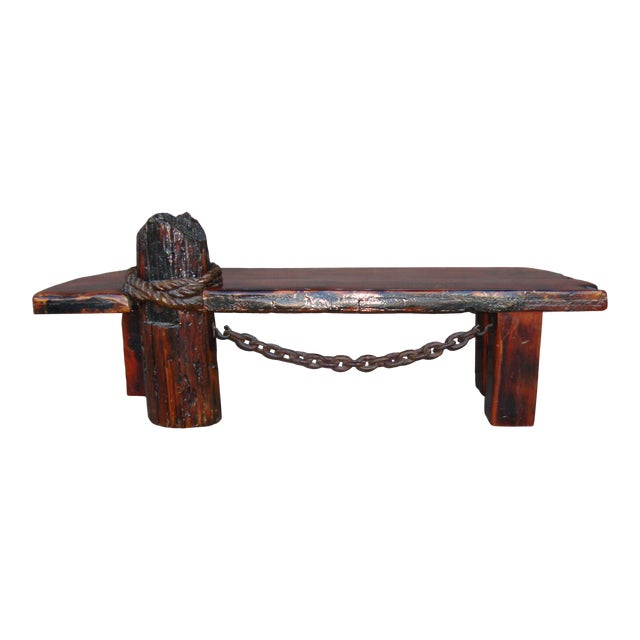 Vintage Rustic Redwood Coffee Table. For Sale
