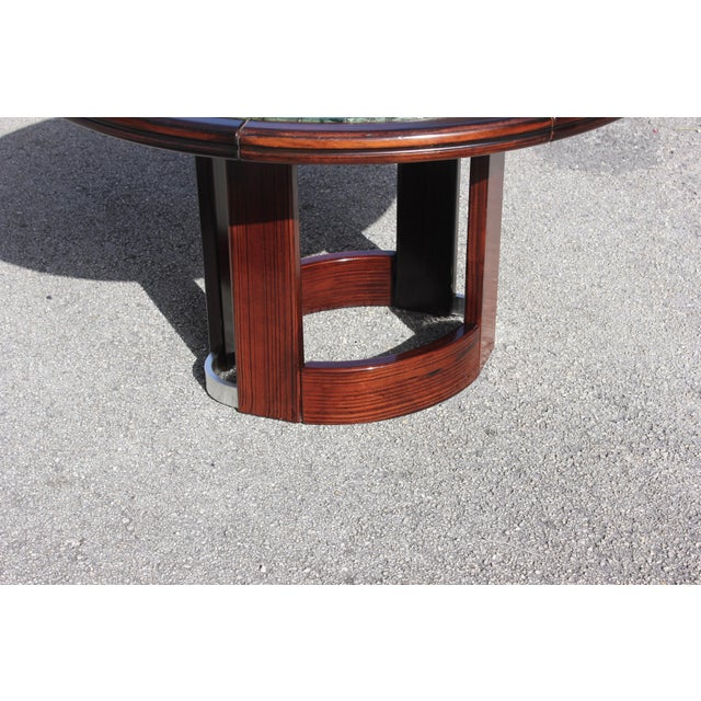 French Art Deco Macassar Ebony Round Center Table With Green Marble Top For Sale In Miami - Image 6 of 13