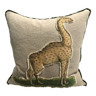 Safari Giraffe Linen & Cotton Applique Quilted Zoo Animal Design Legacy Kelly O'Neal Decorative Pillow Childrens Room For Sale