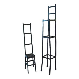 Wrought Iron Artisan Chair Sculptures - Set of 2 For Sale