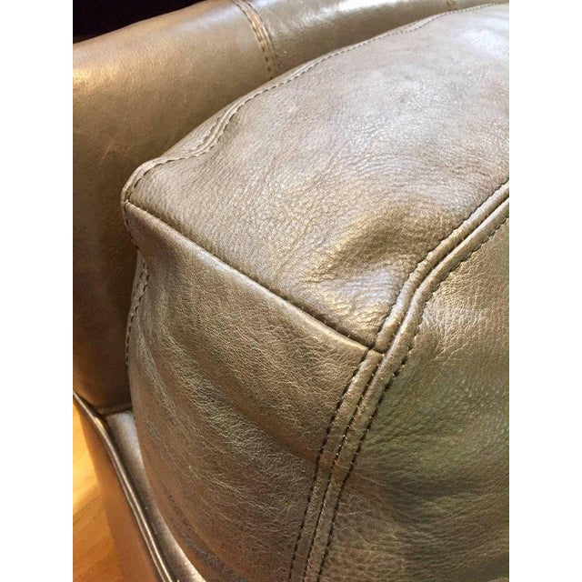 2010s Traditional Lee Industries Supple Leather Swivel Club Chairs - a Pair For Sale - Image 5 of 13