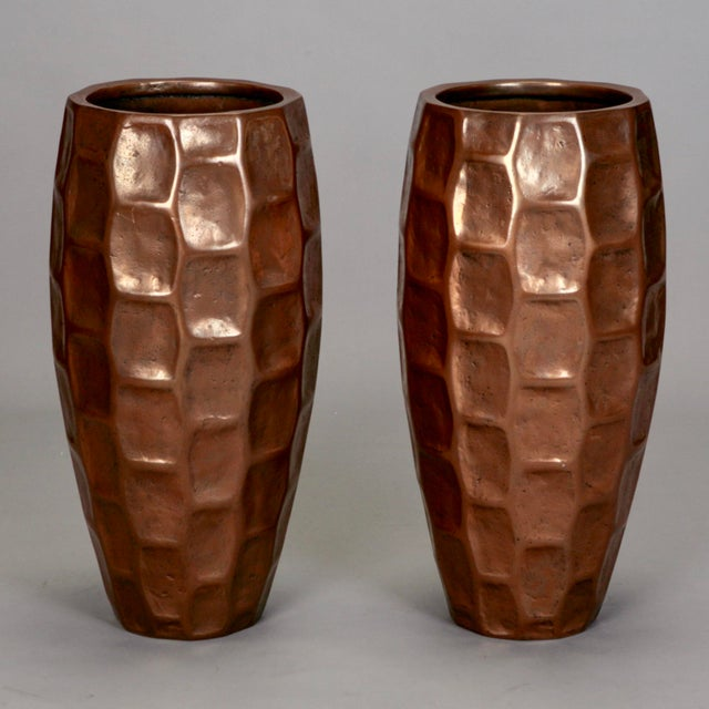 Pair Tall Mid-Century Textured Fiberglass Floor Vases With Bronze Overlay - Image 2 of 5