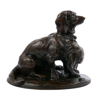 French Bronze Sculpture of Basset Hounds by Emmanuel Fremiet For Sale