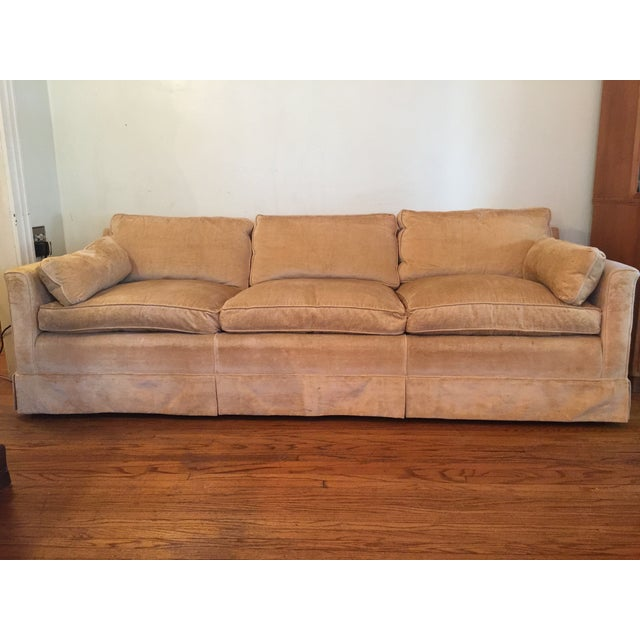 1960s Mid-Century Modern Hog and Horse Mane Hair Sofa Couch With Down Cushions With Floral Slipcover For Sale - Image 11 of 11