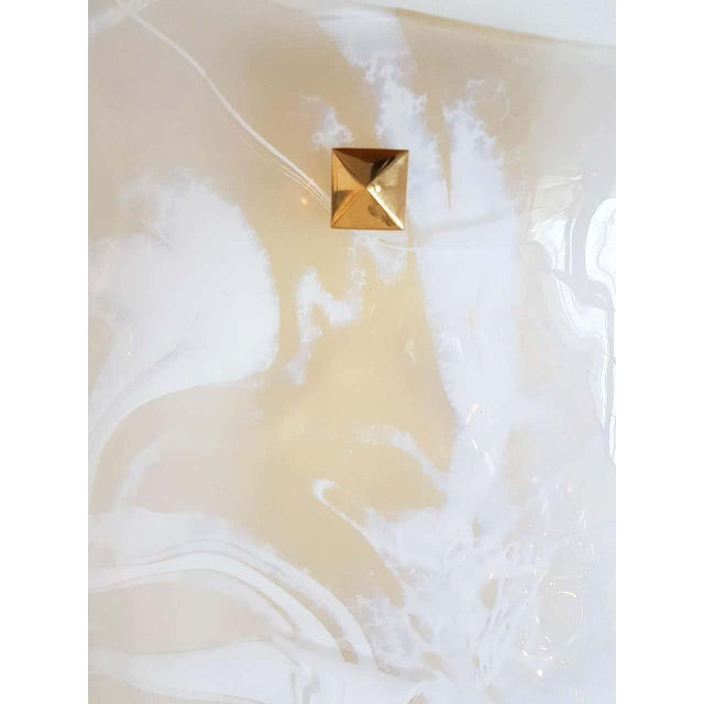 Metal Large Mid-Century Modern White/Transparent Veined Murano Glass Sconces - a Pair For Sale - Image 7 of 8