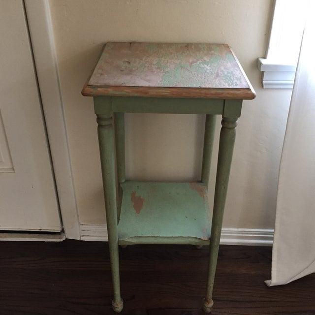 Wondrous 1920S Shabby Chic Green Painted Side Table Home Interior And Landscaping Palasignezvosmurscom