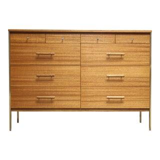 Paul McCobb Mahogany and Brass 6000 Series Directional Cabinet