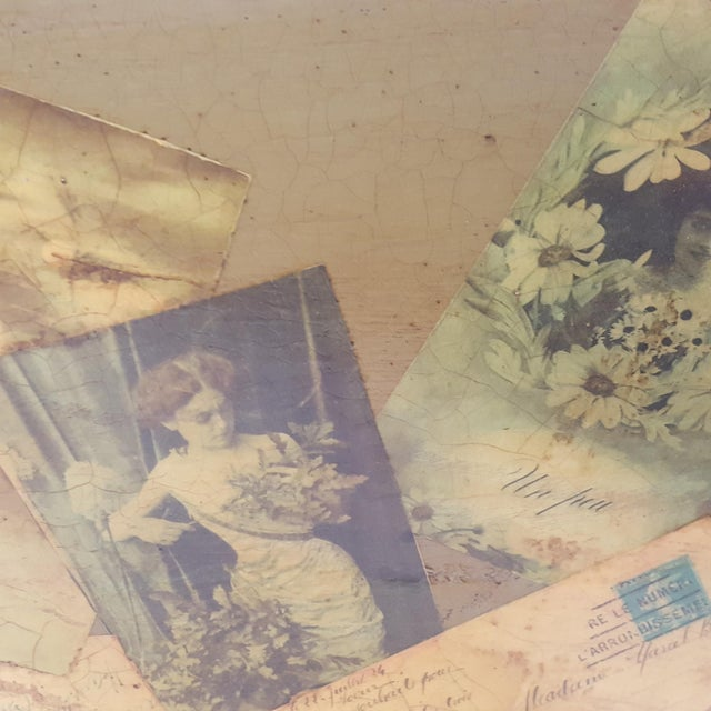 Wood Antique Victorian Postcard Decoupaged Wooden Tote Basket For Sale - Image 7 of 13