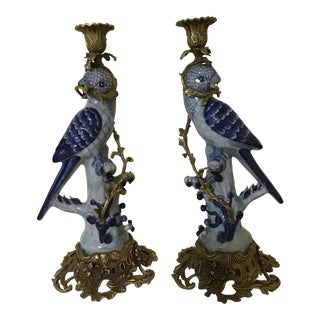 Porcelain and Bronze Parrot Candlestick a Pair For Sale