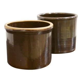 Pair of Antique Brown Ceramic/Pottery Planters For Sale