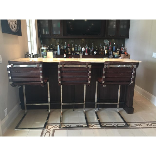 Modern Restoration Hardware Oviedo Leather Bar Stool - Set of 3 For Sale - Image 3 of 6