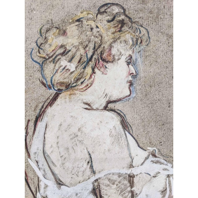 Lot of 4 portrait prints of women by artist Henri de Toulouse-Lautrec. These beautiful reproductions add a rustic, shabby...