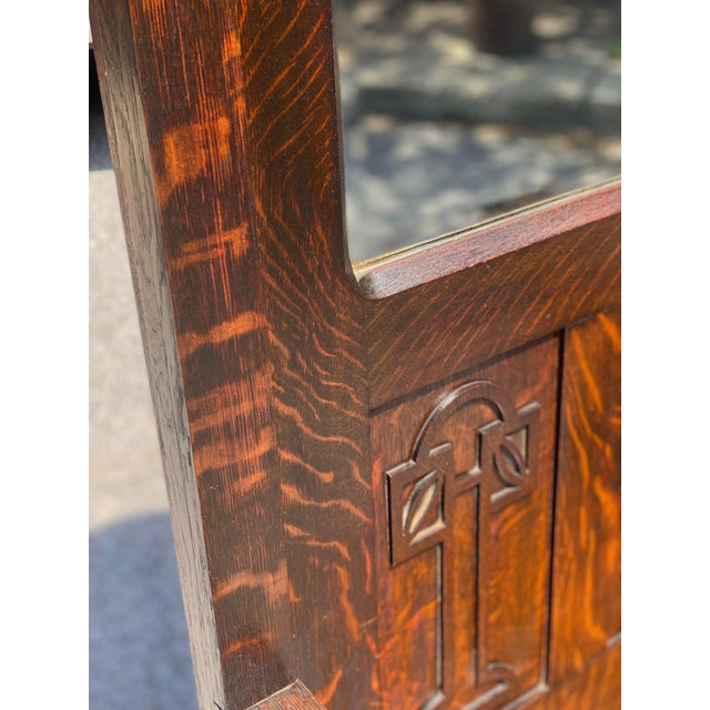 Brown Antique Arts & Crafts Quartersawn Oak Carved Hall Tree Bench W/ Mirror For Sale - Image 8 of 13