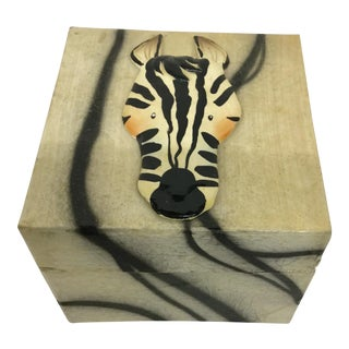 Artisan Lacquer Wood Zebra Covered Box