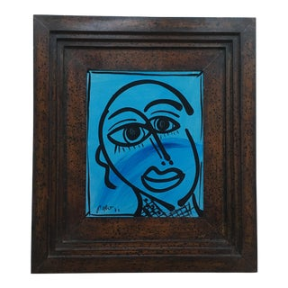 Peter Keil Abstract Blue Face Framed For Sale