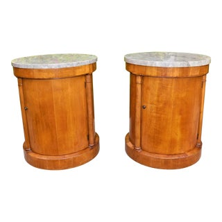 1960s Mid-Century Modern Baker Drum Side Tables With Mable Tops - a Pair For Sale