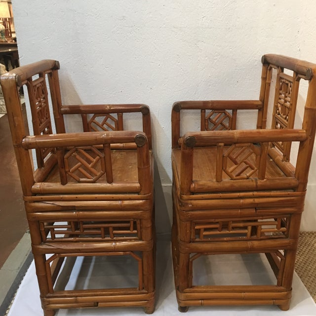 Asian Bamboo Chinese Chippendale Arm Chairs - a Pair For Sale - Image 3 of 6