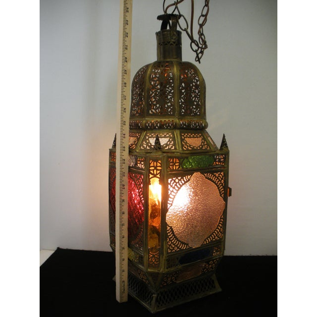 Moroccan Pierced Brass Hanging Lantern For Sale - Image 11 of 12