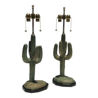 Pair of Verdigris Patina Brass Lamps
