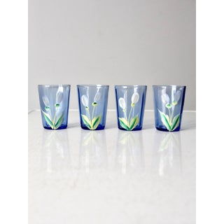 Antique Hand Painted Glass Pitcher Set Preview