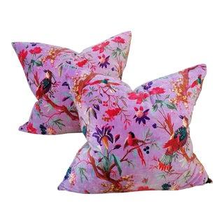 Bejewelled Cotton Velvet Pillow Pair For Sale