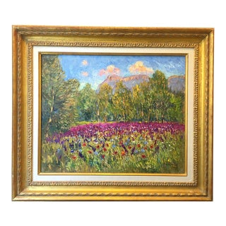 French Countryside La Montagne Sainte Victoria Oil Painting by Isabelle De Ganay Signed For Sale